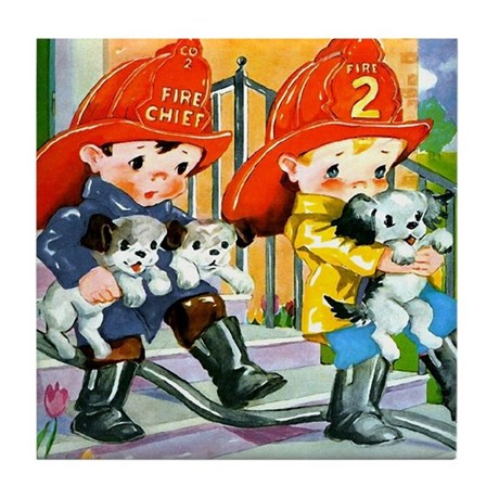 Rescue the Puppies Tile Coaster