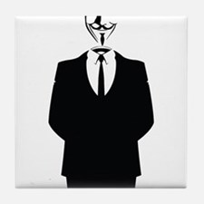 Anonymous Guy Fawkes Suit Tile Coaster