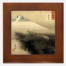 Dragon Rising Over Mountain Framed Tile
