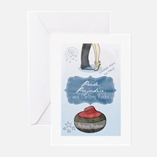 Cute Curling rocks Greeting Cards (Pk of 10)