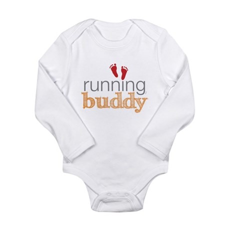 Running Buddy Orange Long Sleeve Infant Bodysuit