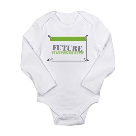 Future Marathoner Lime Long Sleeve Infant Bodysuit