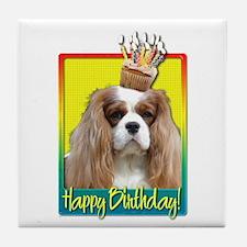 Birthday Cupcake - Cavalier Tile Coaster