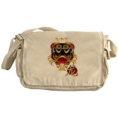 Black n Gold Chinese Dragon F Messenger Bag