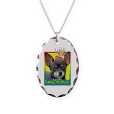 Birthday Cupcake - Chihuahua Necklace Oval Charm