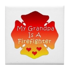 My Grandpa Is A Firefighter Tile Coaster