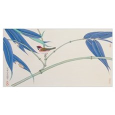 Green Bamboo and Red Bird Poster