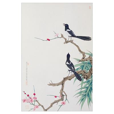 Happy Birds in Plum Tree Poster