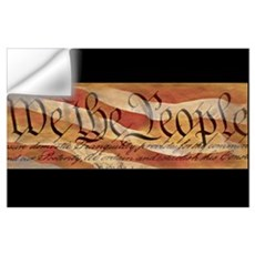 US Constitution Superimposed on Flag Wall Decal