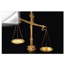 Golden Scales of Justice Out of Balance Wall Decal