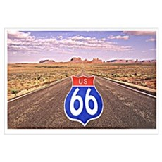 Route 66 Sign Superimposed on Road Poster