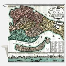 Vintage Map of Venice Italy (1729) Shower Curtain