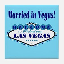 Blue Married in Vegas! Tile Coaster
