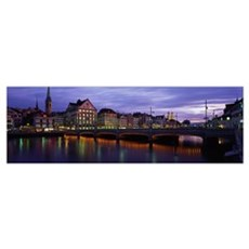 River Limmat Zurich Switzerland Poster