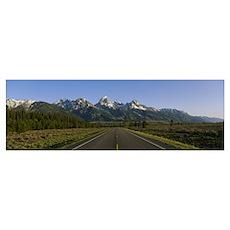 Two lane highway on a landscape, Teton Park Road,  Poster