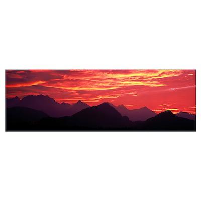 Sundown Austrian Mts South Bavaria Germany Poster