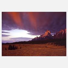Sunrise and storm light ovr Teton Range Grand Teto