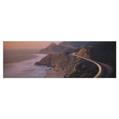 Dusk Highway 1 Pacific Coast CA Poster