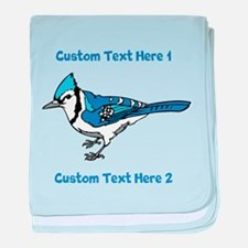 Blue Jay Bird. Custom Text. baby blanket