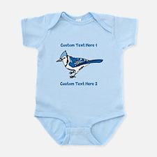 Blue Jay Bird. Custom Text. Infant Bodysuit