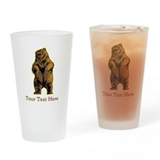 Bear. Custom Text. Drinking Glass