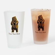 Bear. Custom Text. Drinking Glass