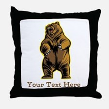 Bear. Custom Text. Throw Pillow