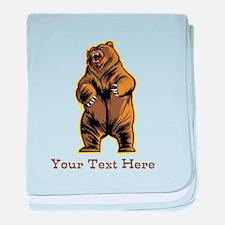 Bear. Custom Text. baby blanket