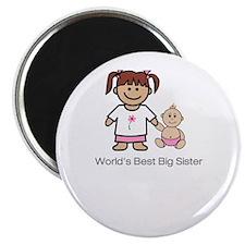 """""""World's Best Big Sister"""" (pink) Magnet"""