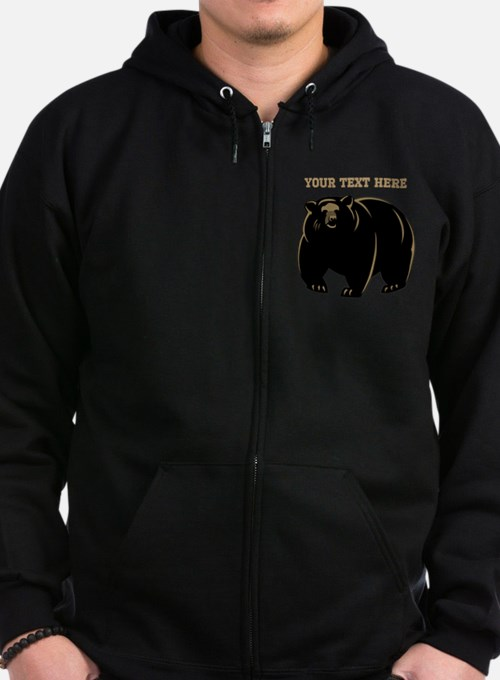 Big Bear with Custom Text. Zipped Hoodie