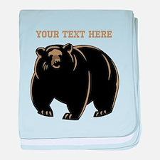 Big Bear with Custom Text. baby blanket