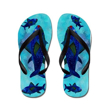 Lady fish flip flops by bythebeach for Fish flip flops