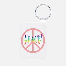Teach Peace Aluminum Photo Keychain