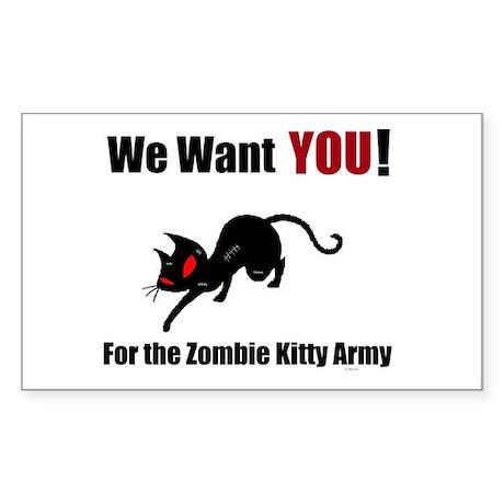 Zombie Kitty Army Sticker (Rectangle)