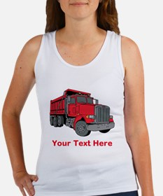 Big Red Truck with Text. Women's Tank Top