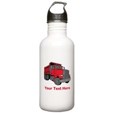 Big Red Truck with Text. Water Bottle