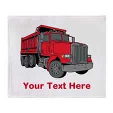 Big Red Truck with Text. Throw Blanket