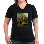 Spirit '76 - Airedale #6 Women's V-Neck Dark T-Shi