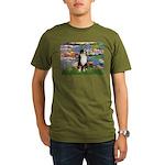 Lilies2-Tri Aussie Shep2 Organic Men's T-Shirt (da