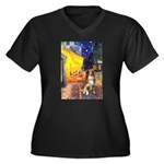 Cafe-AussieShep #4 Women's Plus Size V-Neck Dark T