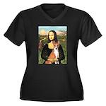 Mona Lisa - Basenji Women's Plus Size V-Neck Dark