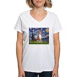 Starry Night & Basenji Women's V-Neck T-Shirt