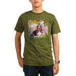 Basset in the Garden Organic Men's T-Shirt (dark)