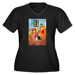 Room with a Basset Women's Plus Size V-Neck Dark T