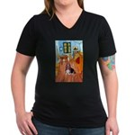 Room with a Basset Women's V-Neck Dark T-Shirt