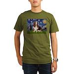 Starry Night & Basset Organic Men's T-Shirt (dark)