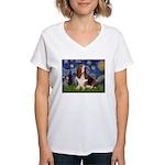 Starry Night & Basset Women's V-Neck T-Shirt