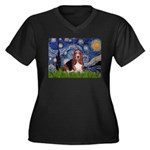 Starry / Basset Hound Women's Plus Size V-Neck Dar