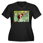 Irises & Beagle Women's Plus Size V-Neck Dark T-Sh