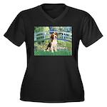 Bridge & Beagle Women's Plus Size V-Neck Dark T-Sh